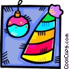 party hat and a Christmas ornament Vector Clip Art image