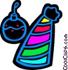 Vector Clip Art picture  of a party hat and a Christmas