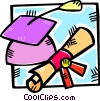Vector Clip Art graphic  of a graduation cap and a diploma