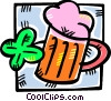 mug of beer with a four leaf clover Vector Clipart image