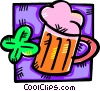 Mug of beer with a four leaf clover Vector Clipart illustration