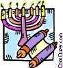 Vector Clipart illustration  of a menorah and a scroll