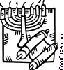 menorah and a scroll Vector Clip Art graphic
