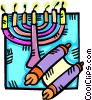 Vector Clip Art picture  of a menorah and a scroll