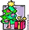 Christmas tree and a present Vector Clip Art graphic