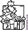 Vector Clipart image  of a Christmas tree and a present