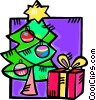 Christmas tree and a present Vector Clipart picture