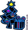 Vector Clipart graphic  of a Christmas tree and a present
