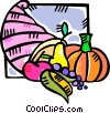 Vector Clip Art picture  of a cornucopia of fruit and