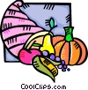 Vector Clipart image  of a cornucopia of fruit and