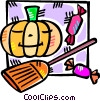 Halloween pumpkin and witches broom Vector Clipart graphic