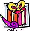 birthday gift with a noise maker Vector Clipart graphic