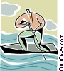 businessman in a rowboat Vector Clipart picture