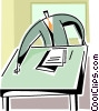 Vector Clip Art image  of a businessman doing paperwork