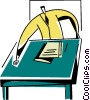 Vector Clip Art graphic  of a businessman doing paperwork