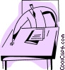 Vector Clipart picture  of a businessman doing paperwork