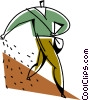 Vector Clip Art graphic  of a farmer planting seeds