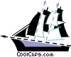 Vector Clipart picture  of a Clippers and Tall Ships
