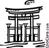 Vector Clip Art image  of a Temples