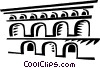 Vector Clip Art graphic  of a Roman Aqueducts and Walls