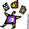 Vector Clipart graphic  of a Juggling and Multitasking