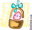 Vector Clipart illustration  of a Easter basket with Easter eggs