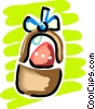 Easter basket with Easter eggs Vector Clip Art image