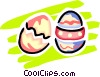 Vector Clipart graphic  of a Easter Chicks with Eggs