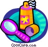 Vector Clipart image  of a hair spray and a mirror