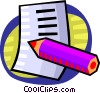 Vector Clip Art image  of a notepad and pencil