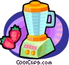 blender and strawberries Vector Clipart image