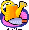 watering can and gardening spade Vector Clip Art image