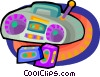 portable cassette player and tapes Vector Clip Art picture