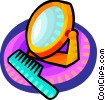 Vector Clip Art image  of a mirror and comb