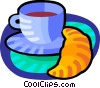 Vector Clipart picture  of a coffee and croissant