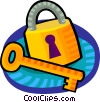 Vector Clipart picture  of a key and lock