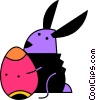 Vector Clip Art graphic  of a Easter bunny with an Easter