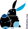 Vector Clipart graphic  of a Easter bunny with an Easter