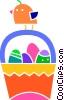 Easter basket with Easter eggs and a chic Vector Clipart image