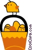Easter basket with Easter eggs and a chic Vector Clipart graphic