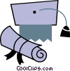 Vector Clipart graphic  of a Diplomas and Caps Mortar