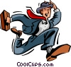 Vector Clip Art image  of a Running and Walking