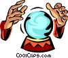 Crystal ball and hands Vector Clipart illustration
