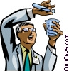Chemist mixing chemicals Vector Clipart illustration