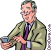 Older man with his pda Vector Clip Art picture