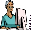 woman working on her computer Vector Clipart illustration