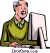 Businessman working on his computer Vector Clipart graphic