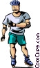Vector Clipart picture  of a Rollerblading