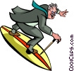 Vector Clipart illustration  of a Surfing
