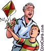 Kite Flying Vector Clipart illustration